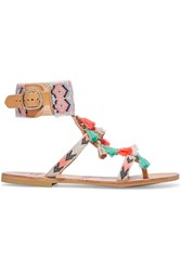 Mabu By Maria Bk Embellished Leather Sandals Coral Sand
