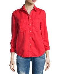 Mother Double Foxy Button Front Shirt Spice Red