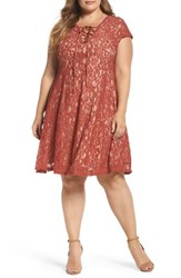 Soprano Plus Size Women's Tie Front Lace Dress Terracotta
