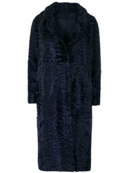 Liska Textured Single Breasted Coat Lamb Fur Xs Blue