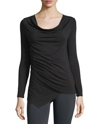 Nux Riley Asymmetric Cowl Neck Tunic Black