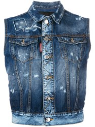 Dsquared2 Rough Denim Sleeveless Jacket Blue