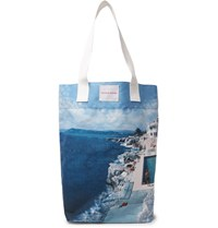 Orlebar Brown Argyle Printed Canvas Tote Bag Blue