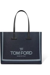 Tom Ford T Medium Leather Trimmed Printed Denim Tote Navy