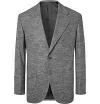 Camoshita Light Grey Slim Fit Puppytooth Wool Blend Suit Jacket Gray