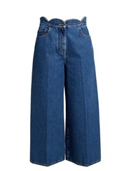 Valentino Scallop Edged Wide Leg Cropped Jeans Denim