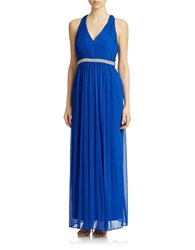 Hailey Logan Embellished Strappy Back Gown Electric