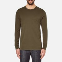 Universal Works Men's Long Sleeve Pocket Military T Shirt Olive