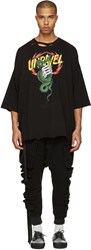 Unravel Black Distressed Snake Boxy T Shirt