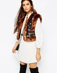 Native Rose Electric Fur Trimmed Gilet With Embellishment Multi