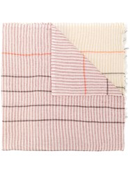 Humanoid Striped Scarf Cotton Linen Flax Red