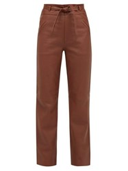 Sea Lidia High Rise Leather Trousers Brown