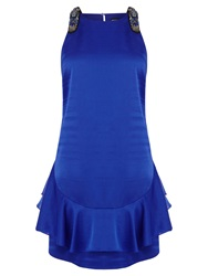 Karen Millen Peplum Hem Mini Dress Blue