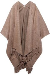 Brunello Cucinelli Woman Fringe Trimmed Knitted Wrap Light Brown