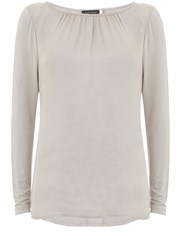 Mint Velvet Chalk Crushed Satin Ls Tee Neutral