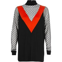 River Island Womens Black And Red Mesh Turtleneck Top