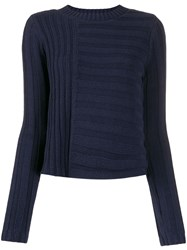 Vince Contrasting Knit Sweater Blue
