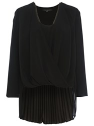French Connection Polly Plains Long Sleeved V Neck Top Black