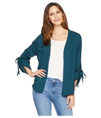 B Collection By Bobeau Nia Rouched Sleeve Knit Cardigan Teal Sweater Blue