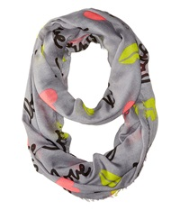 Betsey Johnson Pop Art Loop Grey Scarves Gray