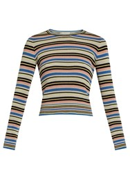 Valentino Multi Striped Cotton Sweater Black Multi