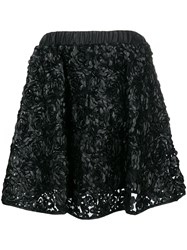 Twin Set Floral Applique Skirt Black