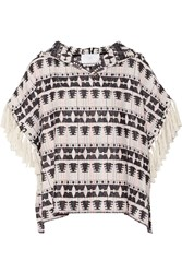 Thakoon Addition Fringed Hooded Cotton Blend Tweed Top Black