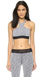 Blue Life Herringbone High Neck Sports Bra Black White