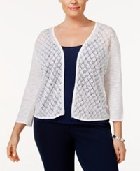 Charter Club Plus Size Pointelle Cardigan Only At Macy's Bright White