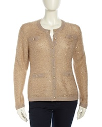 Michael Simon Sequined Chain Knit Cardigan Gld Pnk