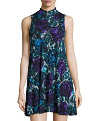 Joan Vass Floral Print Mock Neck Floral Print Swing Dress Multi