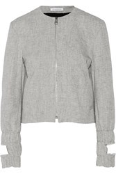 J.W.Anderson Cutout Denim Bomber Jacket Gray