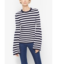 Striped Bell Sleeve Cashmere Sweater Maritime Wht