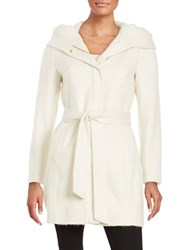 Cole Haan Signature Hooded Textured Coat Winter White