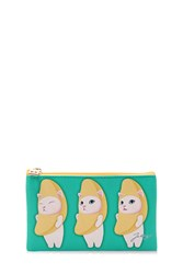 Forever 21 Jetoy Choo Choo Slim Zip Pouch Turquoise Multi