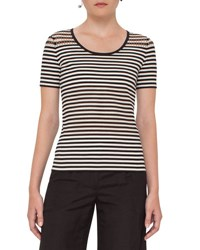 Akris Punto Striped Perforated Short Sleeve Tee Cream Black Cream Blac