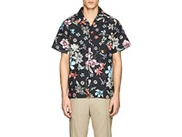 Ovadia And Sons Beach Floral Cotton Poplin Short Sleeve Shirt Black