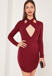 Missguided Halterneck Plunge Curve Hem Bodycon Dress Burgundy Burgundy