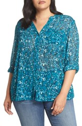 Kut From The Kloth Plus Size Floral Print Blouse Teal