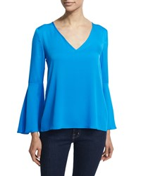 Milly Long Flutter Sleeve A Line Blouse Aqua Blue