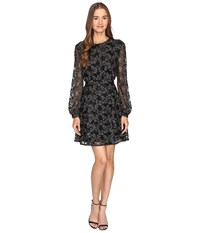 Just Cavalli Long Sleeve Sheer W Lining Embroidered Dress Black Women's Dress