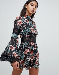 Missguided High Neck Lace Tea Dress In Floral In Multi