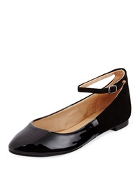Splendid Isabel Patent Leather And Suede Ballerina Black