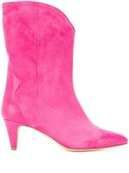 The Seller Snake Embossed Detailed Boots Pink