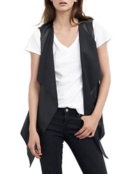 Velvet By Graham And Spencer Faux Leather And Knit Draped Vest Black