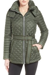 Andrew Marc New York Women's Marc New York Belted Hooded Mix Quilt Jacket