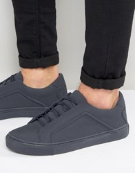 Asos Lace Up Trainers In Navy Block Navy