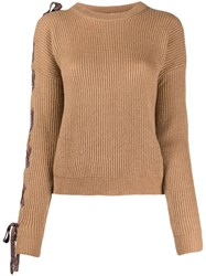 Nude Lace Up Metallic Detail Jumper Brown