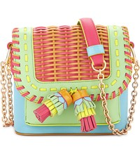 Sophia Webster Claudie Woven Leather Cross Body Aqua Multi