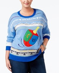 It's Our Time Trendy Plus Size Holiday Sweater Blue